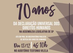 Ato em prol do Observatório dos Direitos Humanos é quinta (13)