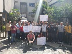 Ato dos trabalhadores no Rio de Janeiro.