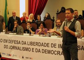 Ato em defesa da liberdade de imprensa, do jornalismo e da democracia