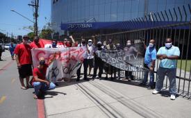 Ato em Santos defende reivindicações da categoria e liberdade de imprensa
