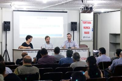 Da direta para a esquerda, o sociólogo Victor Pagani, Paulo Zocchi, presidente do Sindicato, e a secretária de Comunicação, Priscilla Chandretti. Fotos: Cadu Bazilevsiki/SJSP