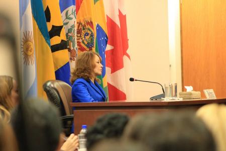 Judith Carvajal Carvajal, irmã do jornalista assassinado, durante a audiência na corte em 22 de agosto de 2017. Foto: Corte Interamericana de Direitos Humanos/CC