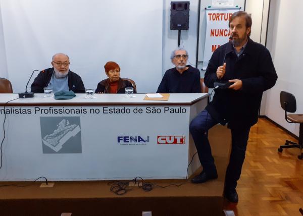 Mesa do debate foi composta por Ricardo Kotscho, Denise Fon e João Luiz Marques / Foto: Cadu Bazilevski