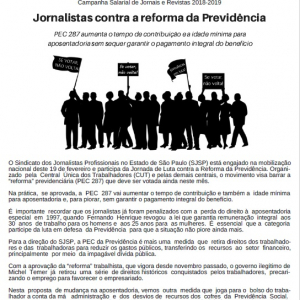 Mural 1260 - Campanha Salarial de Jornais e Revistas da Capital 2018-2019
