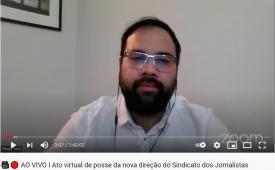 """""""O Sindicato somos nós"""" diz Thiago Tanji durante a posse da nova diretoria do Sindicato"""