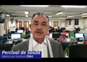 """Percival de Souza: """"É muito importante que você, jornalista profissional, faça a sua filiação ao Sindicato. Isso é muito importante para a nossa categoria"""""""