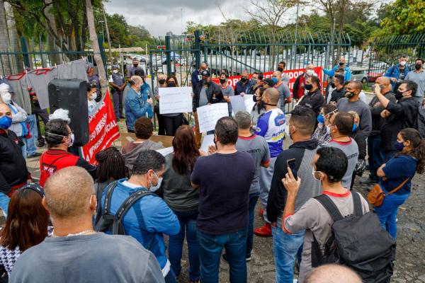Trabalhadores demitidos da Imesp manifestaram-se em frente à Alesp nesta terça-feira / Foto: Eduardo Viné